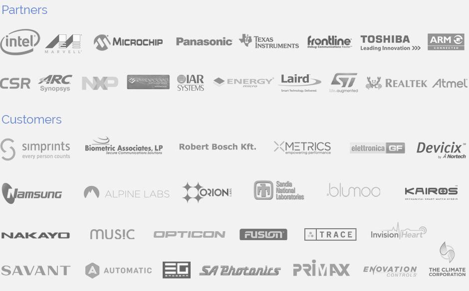SEARAN Bluetooth Stack Customers 2016 - Panasonic, Texas Instruments, Intel, Microchip, Toshiba, Robert Bosch, Simprints